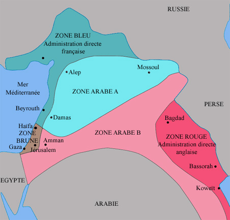 Les accords Sykes-Picot sont des accords secrets signés le 16 mai 1916 entre la France et la Grande-Bretagne, prévoyant le partage du Moyen-Orient à la fin de la guerre dans le but de contrer des revendications ottomanes