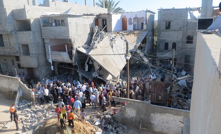 Une maison bombardée pendant la Guerre de l'été 2014