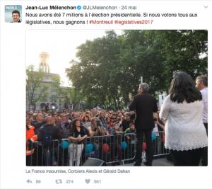 s élections législatives sont vues comme une suite logique des présidentielles. Capture d'écran twitter. https://twitter.com/JLMelenchon/status/867437637883359232