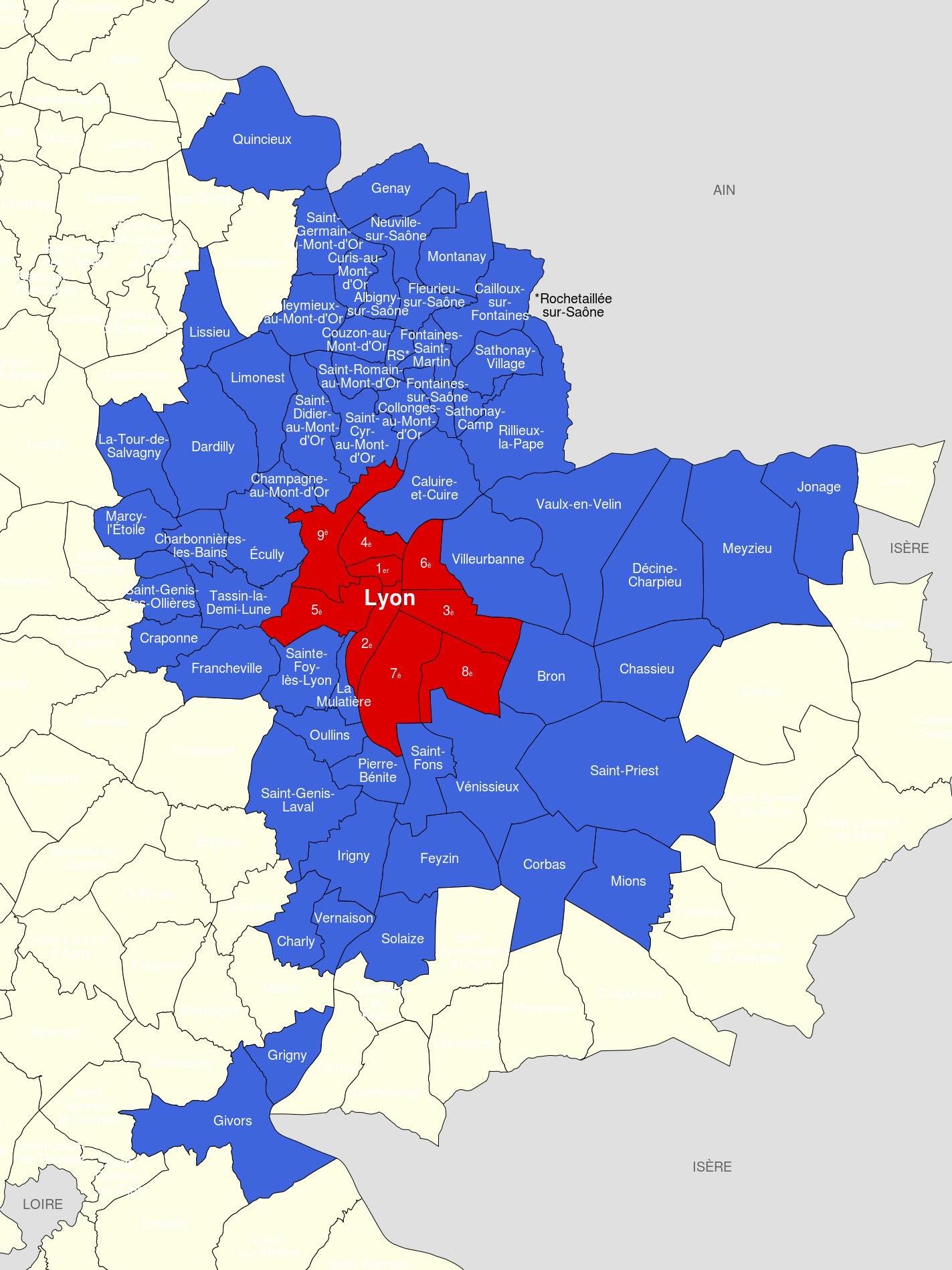 Carte métropole de Lyon
