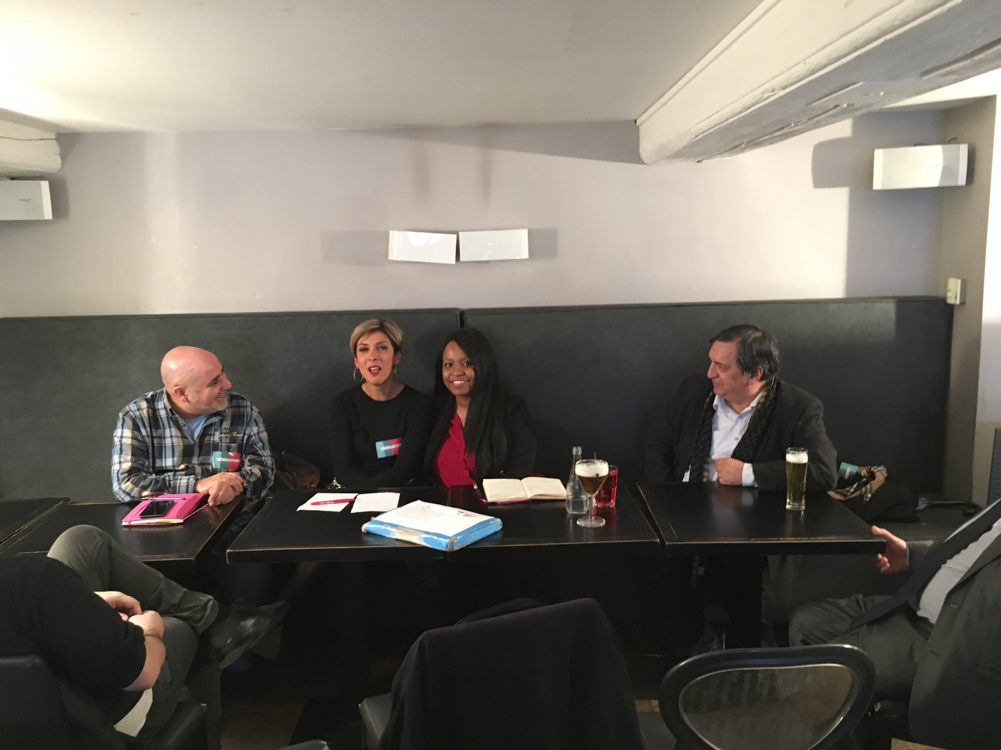 Karim Aou, Zerrin Bataray, Sarah Soilihi et Yves Fournel lors de la Conférence de Génération.s Hamon. Crédits : Etienne Aazzab