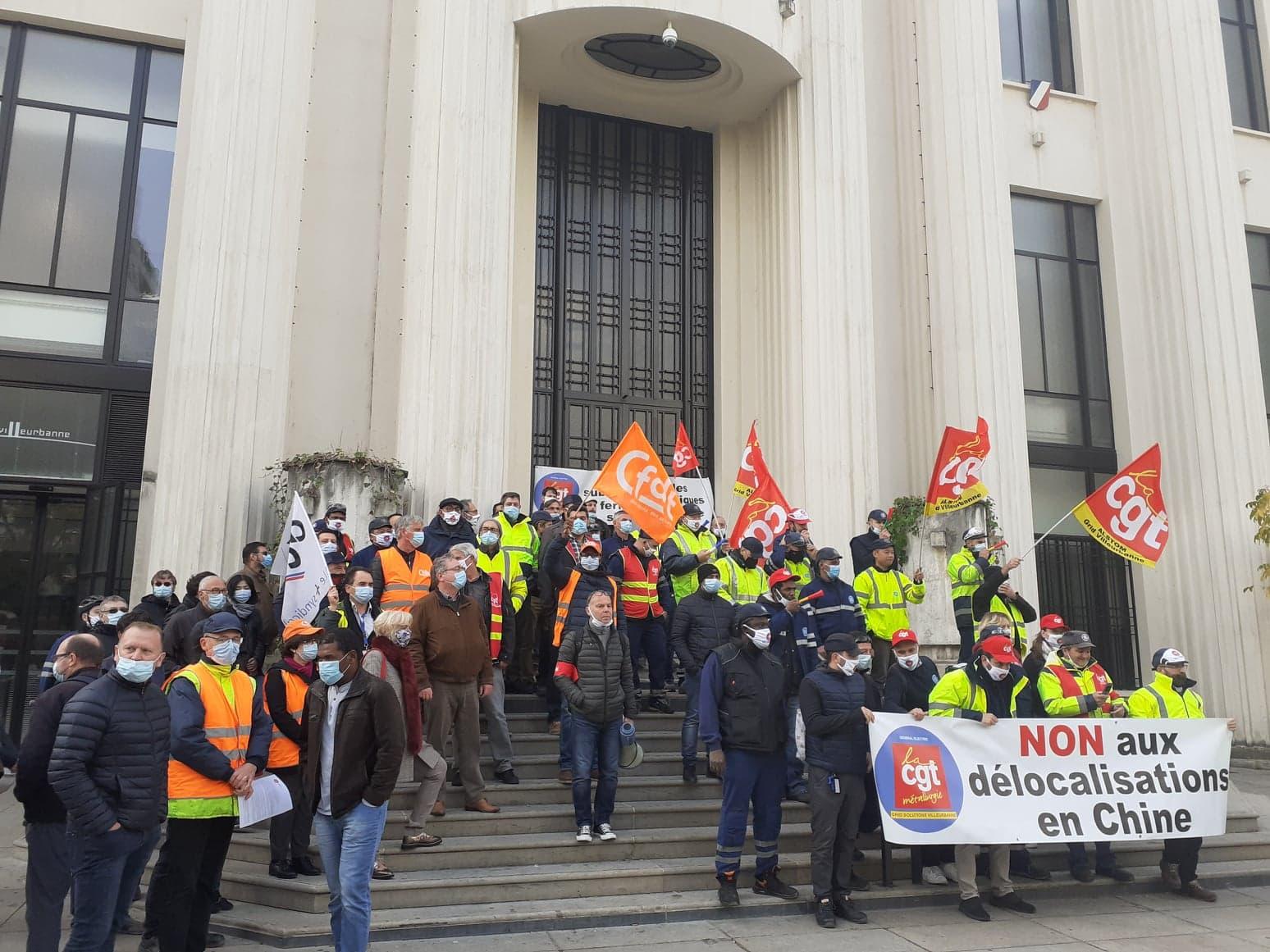 A Villeurbanne, les élus et les salariés de General Electric unis contre le plan de restructuration